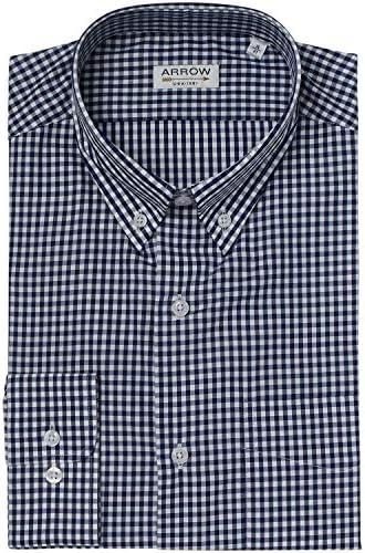 Arrow - Camisa regular fit Vichy cuello con botones azul marino ...