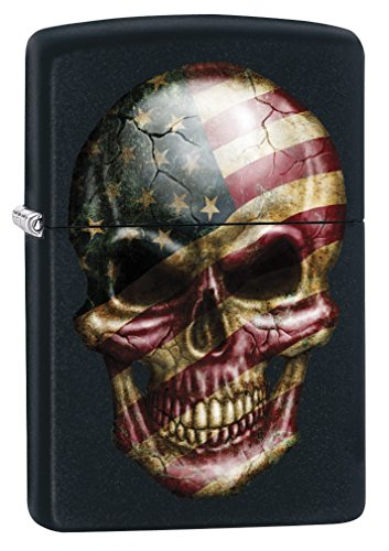 Zippo Lighter: American Flag Skull - Black Matte 79101