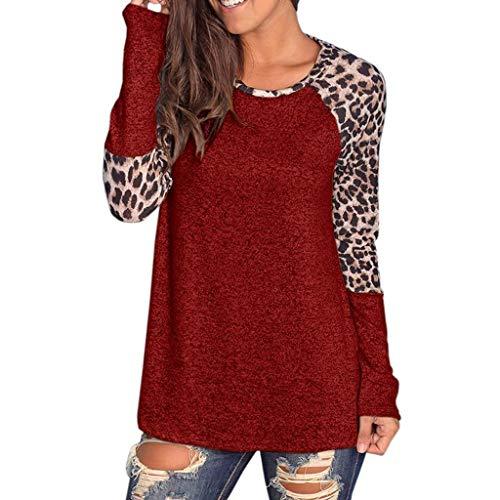 Women Cotton Knitted Long Sleeve Lightweight Tunic Sweatshirt Leopard Printing Top