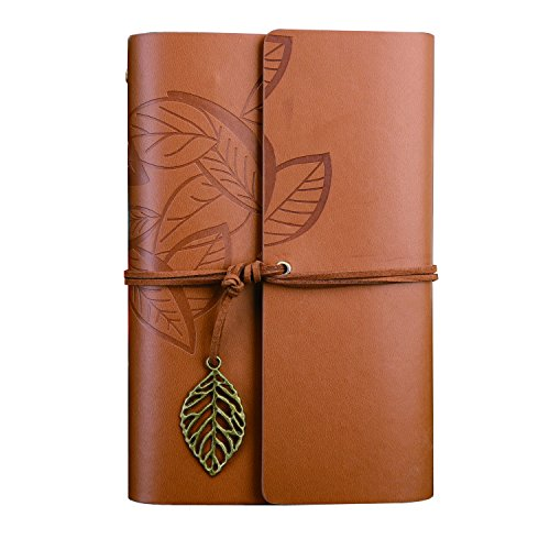 - Ai-life Vintage Retro Leaf Pattern PU Leather Cover Notebook Writing Journal Diary, Vintage Spiral Blank Daily Notepad, Unlined Paper, Retro Pendants, Classic Embossed, Loose Leaf