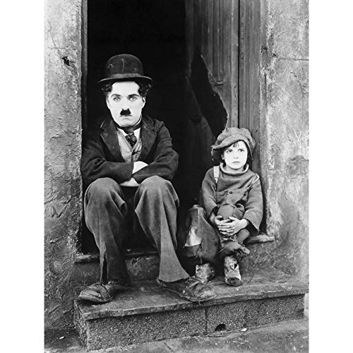 Silent Movie Still Charlie Chaplin The Kid Photo Premium Wall Art Canvas Print 18X24 Inch