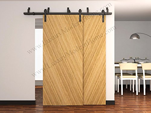 sbd BYPASS - AUSTIN - 8' feet - 98'' 2.5 m Rail BYPASS Sliding Barn Door Hardware Rustic Antique Classic Country Dark Coffee Track Rail Steel Extra Long by LuxuryModernHome (Image #4)
