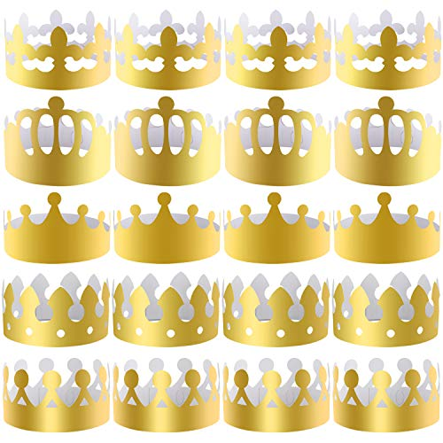 (SIQUK 25 Pieces Paper Crowns Gold Party Crown Paper Hats Party King Crown for Party and)