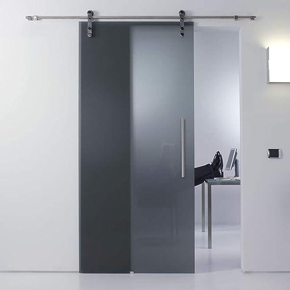 Herraje para Puerta Corredera Kit Kit de hardware de riel colgante de acero inoxidable para puerta de vidrio (5ft-13ft), riel de puerta deslizante Silenciador de doble eje con riel de polea de