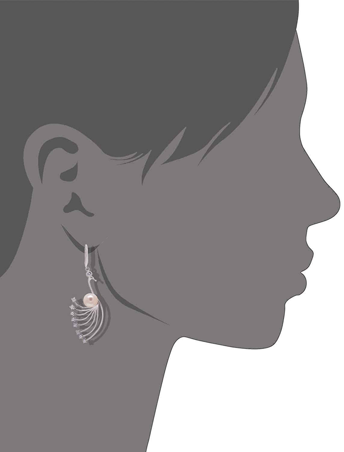 Paialco Cultured Freshwater Pearls Sterling Silver Peacock Bird Dangle Earrings