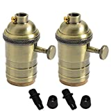 2 Pack Vintage Brass Lamp Holder Switch Light Bulb Socket Fitting Set E27 with ON/OFF