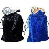 Velvet Tarot Bag Duo Bundle: Blue/gold and Black/silver (5 X 8)