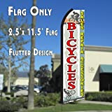 BICYCLES Sales Repairs Accessories (White/Red) Flutter Polyknit Feather Flag (11.5 x 2.5 feet)