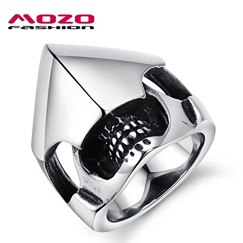 Slyq Jewelry new western fashion armor helmet skull men /Boys punk Ring titanium steel silver Ring