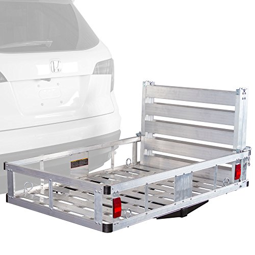 Apex ACC500-DLX Deluxe Aluminum Basket Hitch Cargo Carrier with Ramp