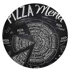 alfombrilla de ratón Los nombres de los platos de pizza de dibujo con tiza en la pizarra - ronda - 20cm