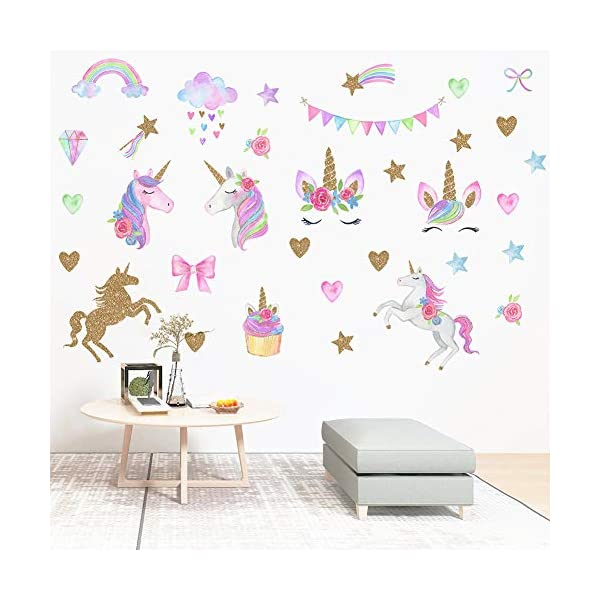 [2 PCS] Unicorn Wall Decals, Romantic Unicorn Wall Stickers Girls Bedroom, Unicorn Wall Stickers Decorations, Wall Decor with Clouds 6