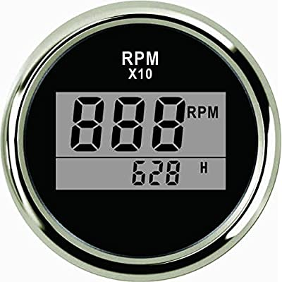 "ELING Universal Digital Tachometer RPM REV Counter RPM with Hour Meter 52mm(2"") 9-32V with Backlight: Automotive"