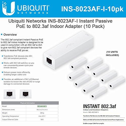 Ubiquiti Networks INS-8023AF-I Instant Passive 802.3af Adapter POE Device Indoor (10 Pack) by UBNT