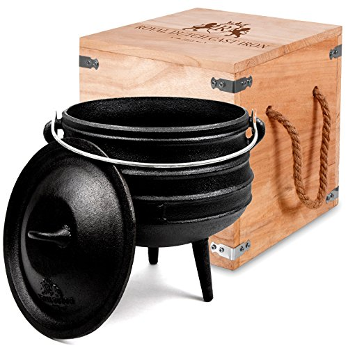 Cast Iron Potje 1 Gallon Volume in Wooden Box for Outdoor Fireplace - Pre Seasoned Heavy Duty Pot Cauldron Cookware with Lid and Handle for Camping & Open Fire Cooking by Royal Dutch Cast Iron 1815