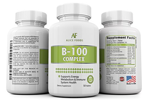 Time Released Vitamin B-100 Complex - 50 Coated Tablets Slow Release by Alice Foods (Image #3)