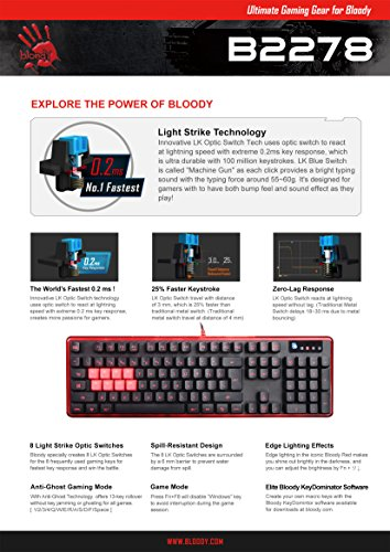 BLOODY B2278 8-Key Light Strike (Lk) Semi Optical Mechanical Gaming