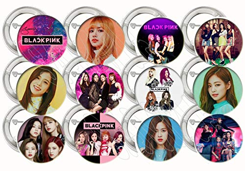 - Black Pink Buttons K-pop Party Favors Supplies Decorations Collectible Metal Pinback Buttons Pins, Large 2.25
