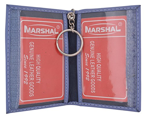 Genuine Lambskin Soft Leather Credit card Id Card Holder with Key Chain by Marshal (Sky Blue) ()