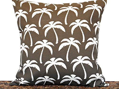 Amazon Com Brown Outdoor Throw Pillow Cover Palm Trees White