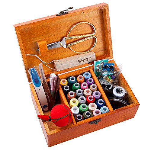 Sewing Kit, Large Wooden Sewing Boxes and Basket with Sewing kits Accessories for Girls Women, Including Over 102 Premium Sewing Supplies (Dandelion)