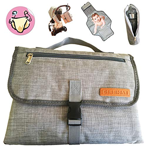 (Portable Diaper Changing Pad Clutch | Bonus: Insulated Sleeve | Waterproof Baby Travel Changing Station Kit with Extra Large Mat | Pockets for Diapers and Wipes)