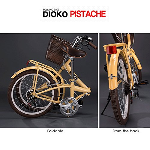 DIOKO 20 inches Cruiser Folding Bike with basket Pistache Ivory