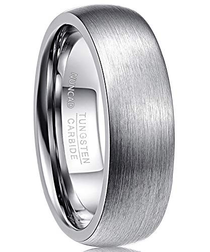 NUNCAD Men's Tungsten Carbide Ring 7mm Matte Brushed Finish Wedding Band Domed Size 10.5 ()