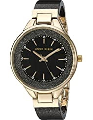 Anne Klein Womens AK/1408BKBK Swarovski Crystal Accented Gold-Tone and Black Shimmer Resin Bangle Watch