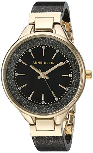 (Anne Klein Women's AK/1408BKBK Swarovski Crystal Accented Gold-Tone and Black Shimmer Resin Bangle Watch)
