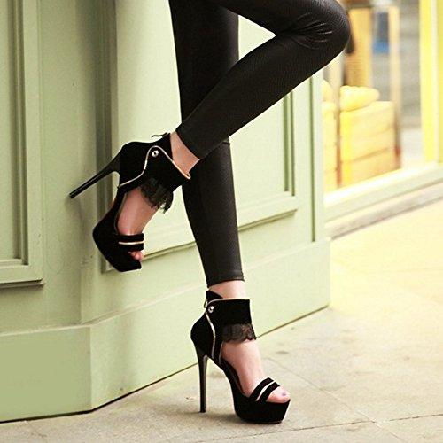 COOLCEPT Mujer Moda Correa de Tobillo Sandalias Tacon Delgado Alto Peep Toe Plataforma Zapatos con Cremallera Negro