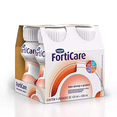 Forticare Pêssego e Gengibre Danone Nutricia com 4 unidades de 125ml
