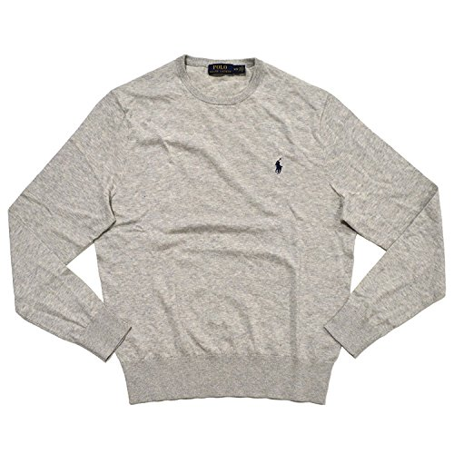 n's Cashmire Cotton Blend Pulover Crewneck Sweater,Gray,Large ()