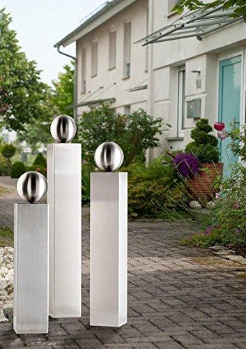 Gartendeko edelstahl saule  EDELSTAHL Säulen Set V2A Säule 50/60/70cm mit 100mm Edelstahlkugel ...
