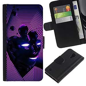iBinBang / Flip Funda de Cuero Case Cover - Cara abstracta rosada púrpura - Samsung Galaxy S4 IV I9500