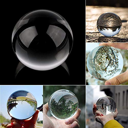 (LtrottedJ Clear Glass Crystal Ball Healing Sphere Photography Props Lensball Decor Gift (B))