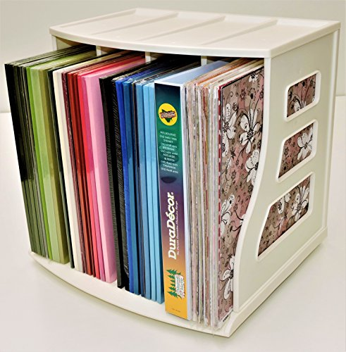 Scrapbooking 12x12 Paper Rack Cube Box Vinyl Record Storage Crate LP Album Holder Office Desktop Organizer Ring Binder Stand Lever Arch Shelf, Holds Over 70 Records Stackable - New Improved Base Clip