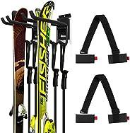 Odoland Ski Slatwall Hooks Wall Storage Rack with 2 Ski Strap Carrier, 1 Pairs of Snowboard Rack Wall Mount, H