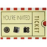 Amscan 499122 Movie Ticket Party Invitation Card, One Size, Multicolor, 8ct