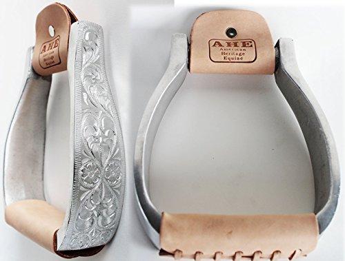 PRORIDER Horse Western Saddle Aluminum Engraved Leather Tread Stirrups ()