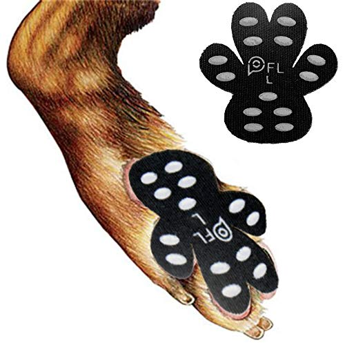 Dog Paw Protection Anti-Slip Traction Pads with Grips, 24 Pieces Self Adhesive Disposable Dog Shoes for Hardwood Floor Indoor Wear (L-1.66'x1.90', 21-40 lbs)