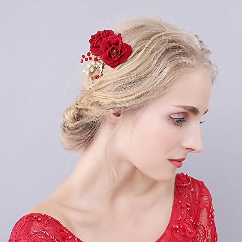 ClassicBeauty Beautiful Red Rose Hair Comb New 2017 Wedding Women and Girls Hair Accessories Bridesmaids Headpiece