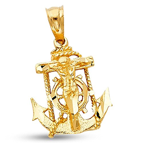 Jesus Anchor Crucifix Pendant Solid 14k Yellow Gold Mariner Cross Charm Religious Design 15 x 14 mm (Cross Mariners Yellow Gold 14k)