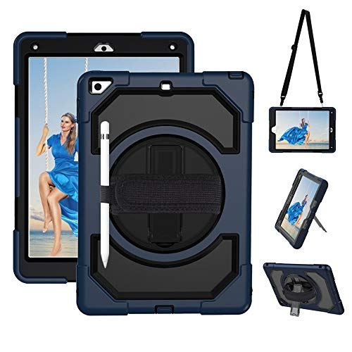 SUPFIVES iPad 5th/ 6th Gen Case with Pencil Holder Three Layer Drop Resistant Protective Case with 360 Degree Swivel Stand Adjustable Hand Strap Shoulder Strap for New iPad 9.7 inch (Black+Navy Blue)