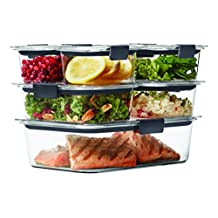 Rubbermaid Brilliance Food Storage Container, 14-Piece Set, 100% Leak-Proof, Plastic, Clear