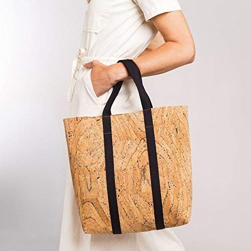 Cork Tote Bag with Black Webbing Straps by Spicer Bags