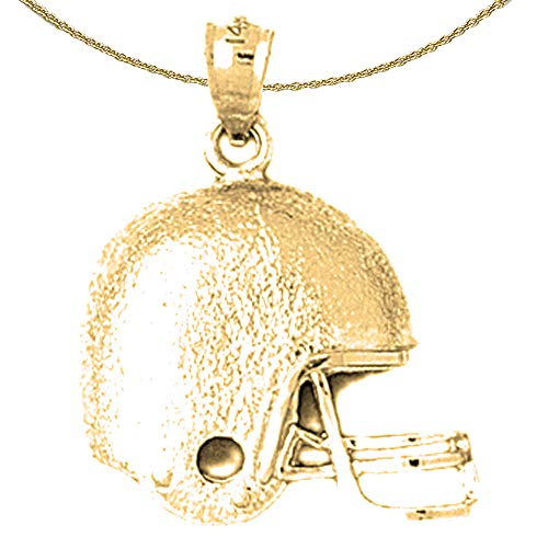 Jewels Obsession Solid 14K Yellow Gold Football Helmet Pendant with 24