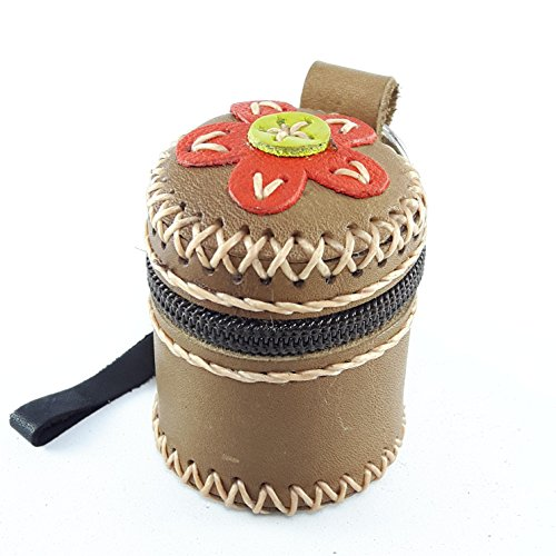 Yellow Leather Coin Purse Zipper Handles Hook Ring Small Box Sharpe Handmade Embroided Flower Thai Handcraft