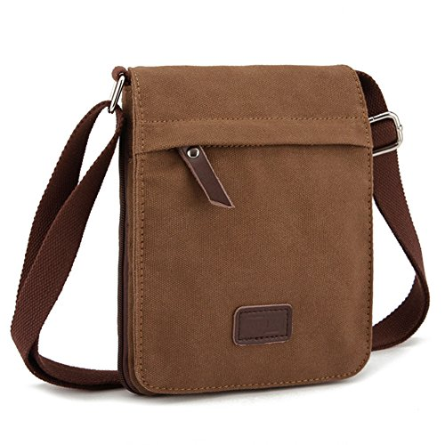 (Sechunk Small Vintage Canvas Messenger Cross body bag Shoulder bag (s_Brown, small))