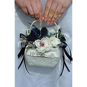 Gorgeous Artificial Fresh Touch Midnight Blue Anemone Flowergirl Basket 30